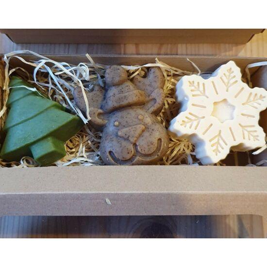 Karácsonyi kecsketejes szappanok diszdobozban