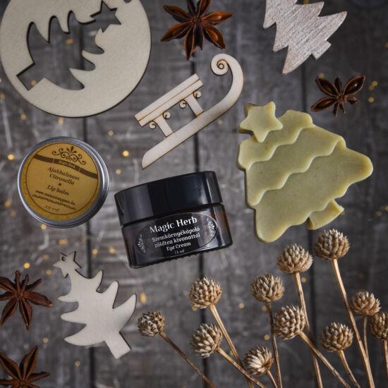 Karácsonyi ajándékdobozka, kézműves natúr kozmetikumokkal